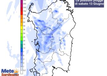Le possibili piogge di sabato 13 giugno.