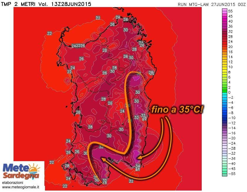 t2m 372 - Domenica maestrale bollente sul Sarrabus e Cagliaritano: attesi 35°C!