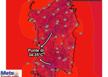 Le temperature massime di sabato 27 giugno.