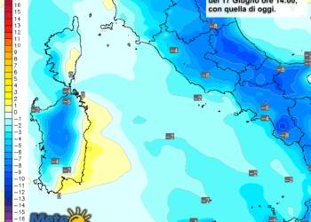 Le differenze di temperatura delle ore 14 del 17 giugno, rispetto alla stessa ora di oggi.