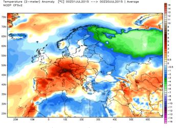 Le anomalie termiche in Europa nelle tre settimane di luglio fin qui trascorse.