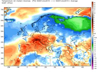 Le anomalie termiche in Europa nel mese di Luglio 2015.