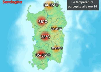 Le temperature percepite alle ore 14 di giovedì 02 luglio.