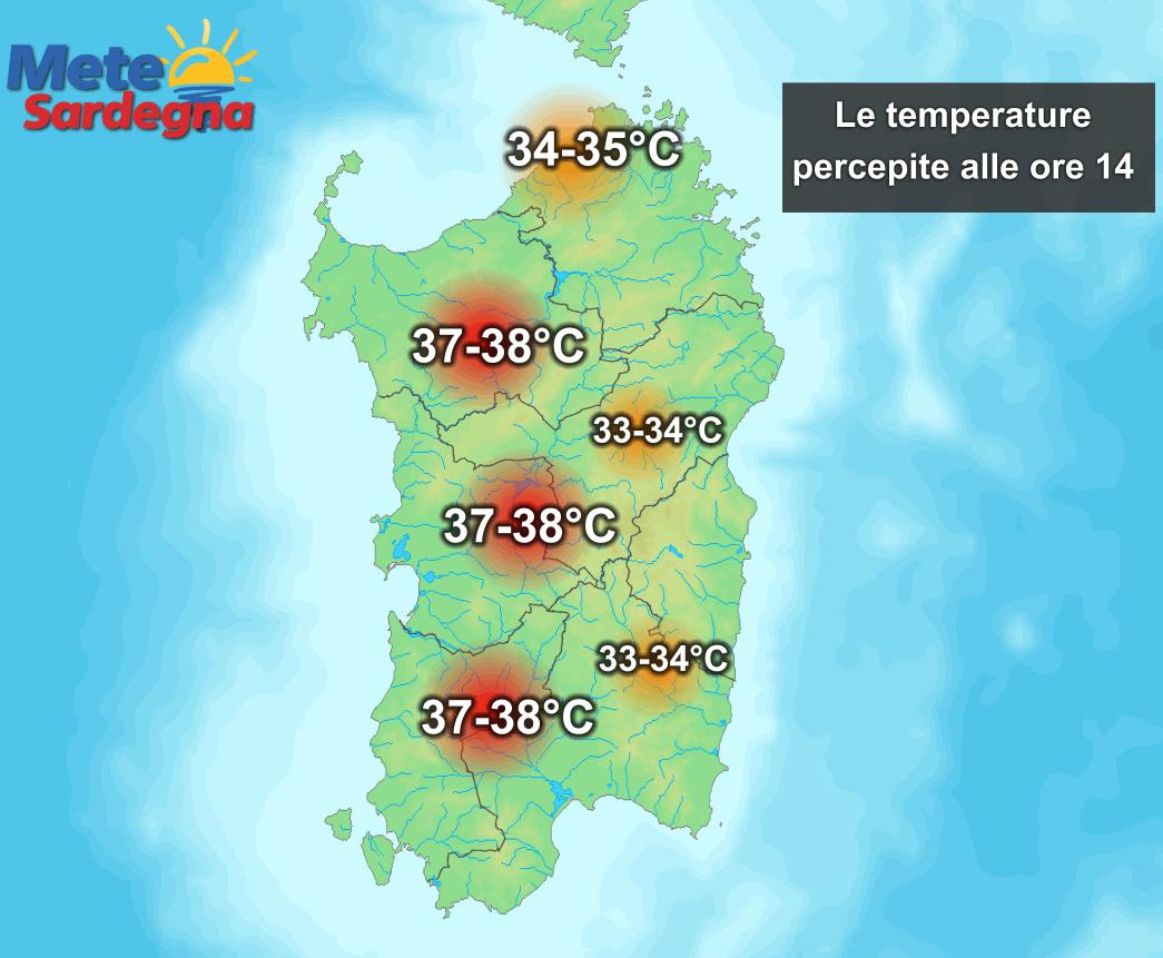 Le temperature percepite dal nostro organismo alle ore 14 di mercoledì 01 Luglio.
