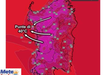 Le temperature massime di venerdì 17 Luglio.