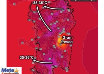 Le temperature massime di giovedì 23 Luglio.