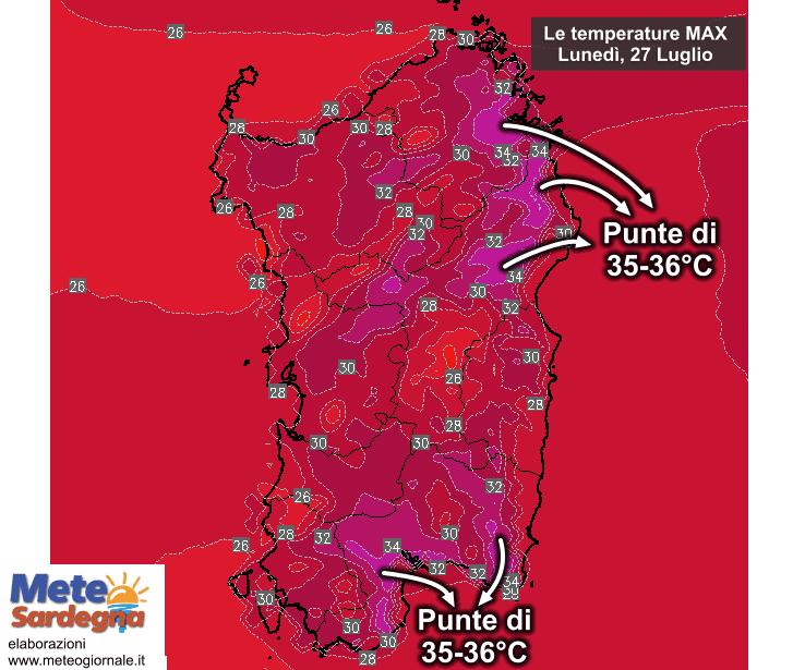 Le temperature massime lunedì 27 Luglio.