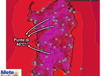 Le temperature massime di martedì 07 Luglio.