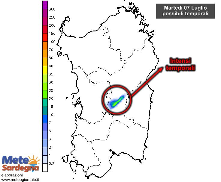 Martedì 07 Luglio tornerà qualche intenso temporale pomeridiano.
