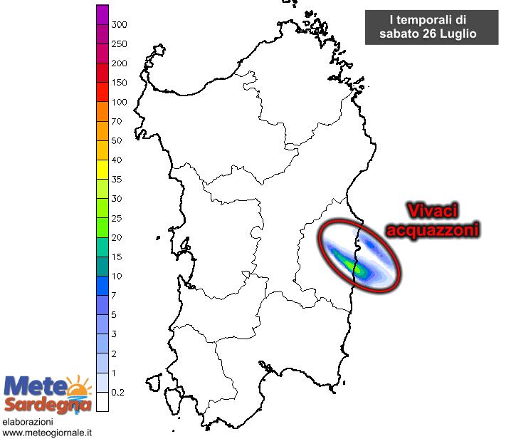 Le precipitazioni nel corso della giornata di sabato 25 Luglio.