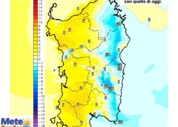 Le variazioni di temperatura delle ore 14 di venerdì 10 luglio, rispetto alla stessa ora di oggi.