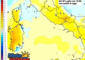 Le differenze di temperatura delle ore 14 di giovedì 30 luglio, rispetto alla stessa ora di oggi.