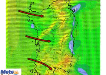 Le raffiche di vento al suolo nelle prime ore serali di oggi, lunedì 13 luglio.