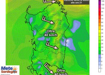 Le raffiche di vento al suolo alle ore 21 di sabato 25 Luglio.