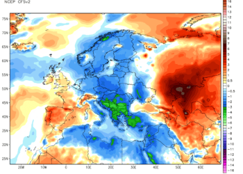 Le anomalie termiche continentali nelle ultime due settimane di giugno.