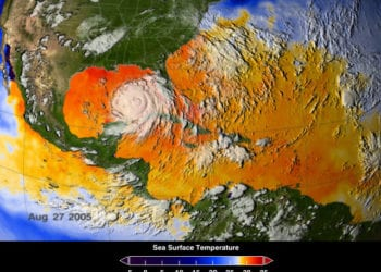 Le calde acque del nord Atlantico alimentarono l'Uragano Katrina, rendendolo devastante. Fonte immagine Scientific Visualization Studio, NASA's Goddard Space Flight Center.