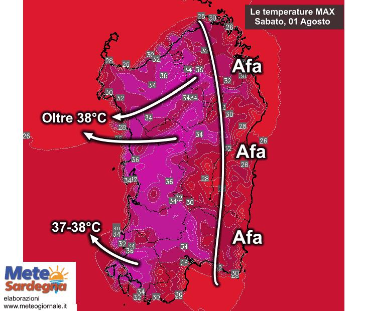 Le temperature massime Sabato 01 Agosto.