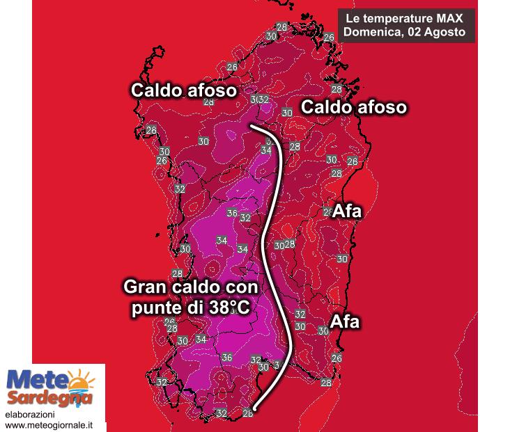 Le temperature massime domenica 02 Agosto.