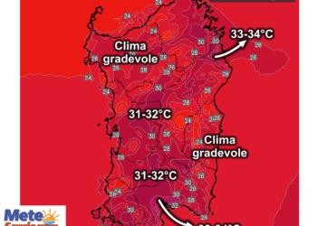 Le temperature massime attese mercoledì 19 Agosto.