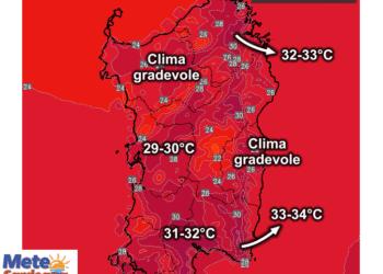 Le temperature massime attese giovedì, 20 Agosto.