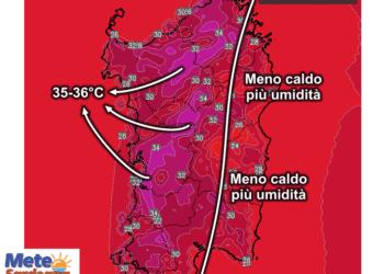 Le temperature massime attese domenica 23 Agosto.