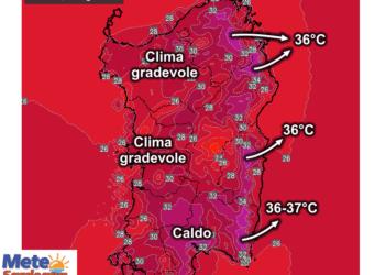 Le temperature massime di lunedì 24 Agosto.