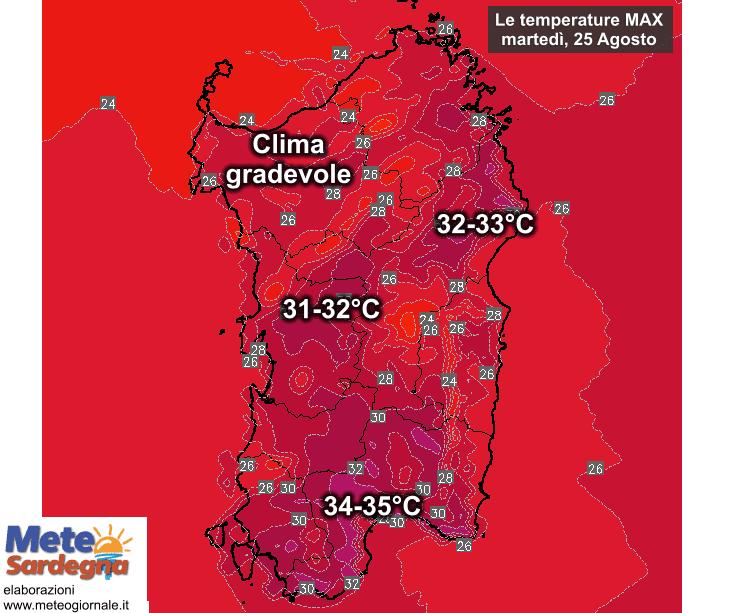 Le temperature massime di martedì 25 Agosto.