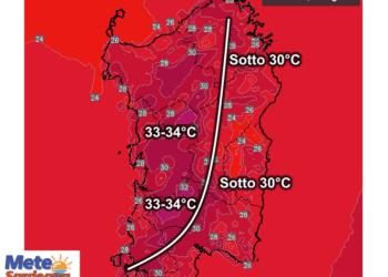 Le temperature massime attese mercoledì 26 Agosto.