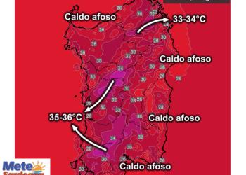 Le temperature massime Lunedì, 03 Agosto.