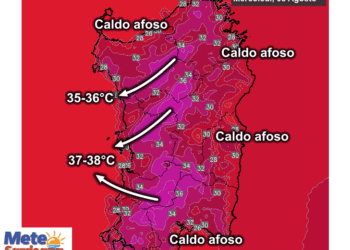 Le temperature massime mercoledì 05 Agosto.