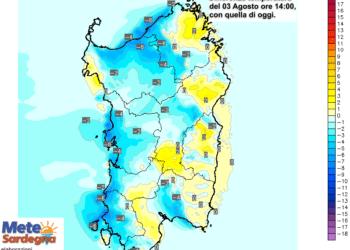 Le differenze di temperatura alle ore 14 di lunedì 03 Agosto, rispetto alla stessa ora di oggi.