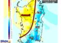 Le differenze di temperatura delle ore 14 di mercoledì 26 Agosto, rispetto alla stessa ora di oggi.