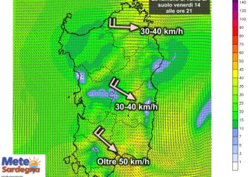 Le raffiche di vento al suolo alle ore 21 di venerdì 14 Agosto.