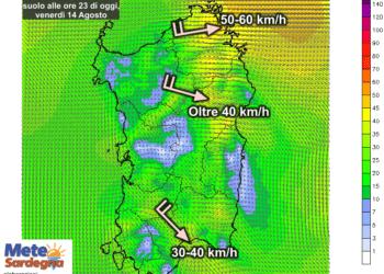 Le raffiche di vento al suolo alle ore 23 di oggi, venerdì 14 Agosto.