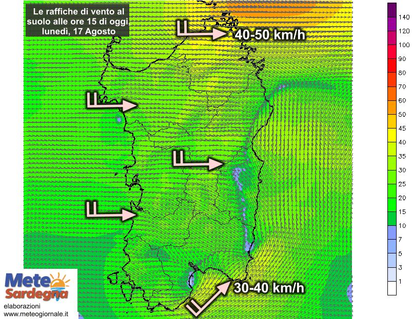 Le raffiche di vento al suolo alle ore 15 di oggi, lunedì 17 Agosto.