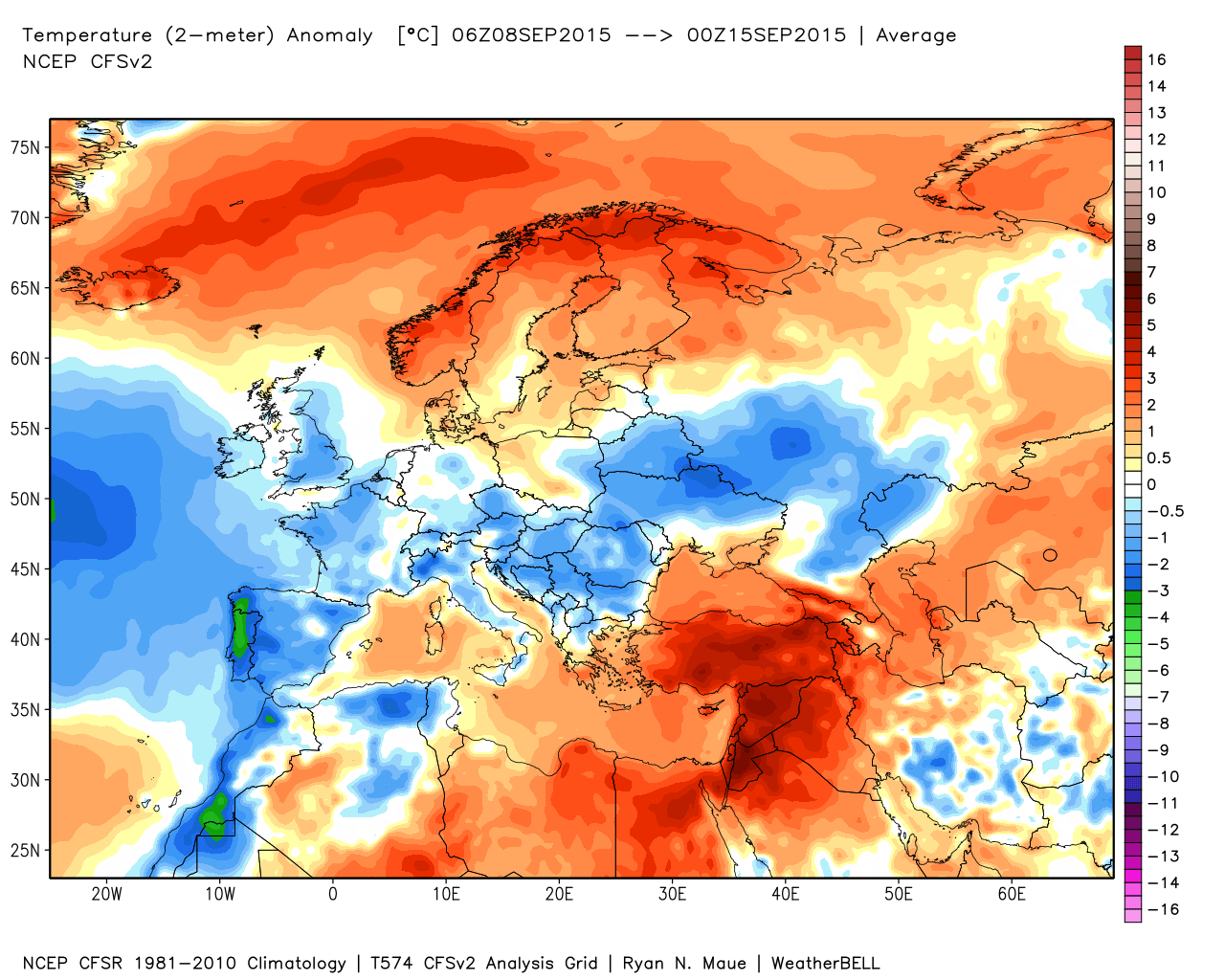 Le anomalie termiche della seconda settimana di settembre.