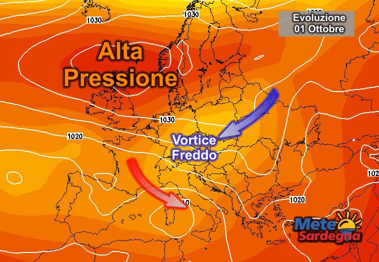 La possibile evoluzione meteorologica dei primi di ottobre.