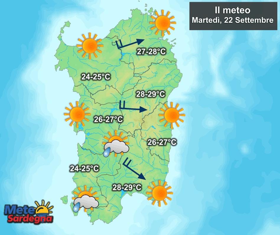La previsione meteo per la giornata di martedì 22 Settembre.