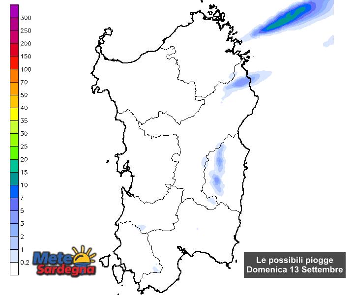 Le possibili piogge domenica 13 settembre secondo il nostro modello di previsione.