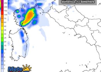 Domenica 13 settembre, secondo il modello LAM MTG, confermate le possibili precipitazioni.