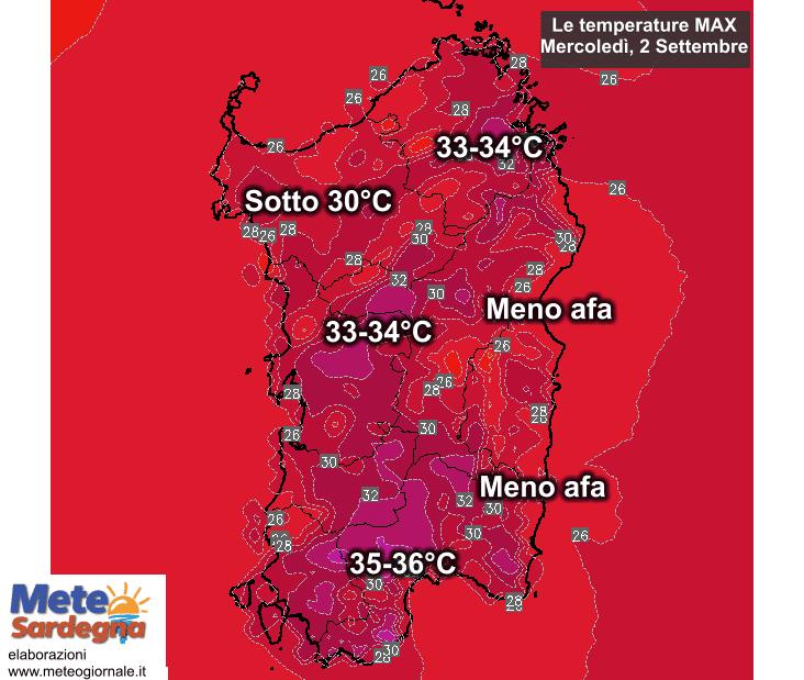 Le temperature massime di mercoledì, 02 settembre.