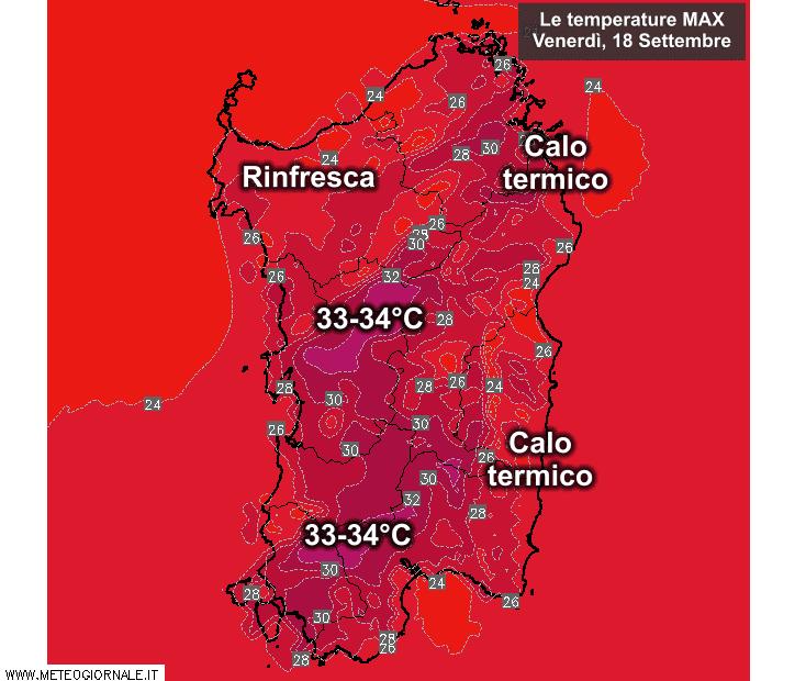 Le temperature massime di venerdì 18 settembre.