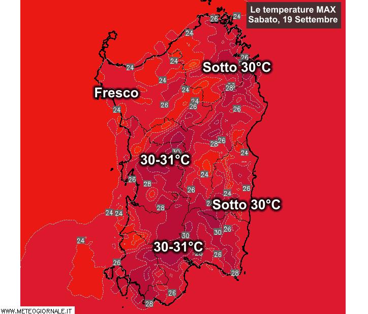 Le temperature massime di Sabato 19 Settembre.