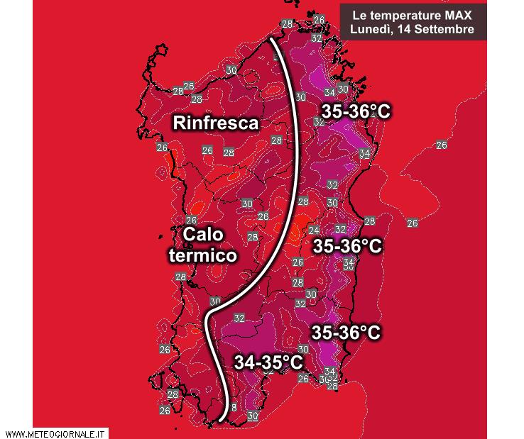 Le temperature massime di lunedì 14 Settembre.