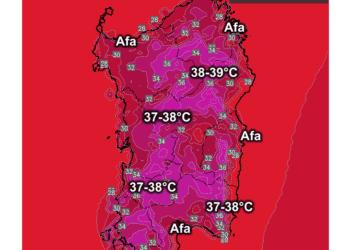 Le temperature massime di mercoledì 16 settembre.