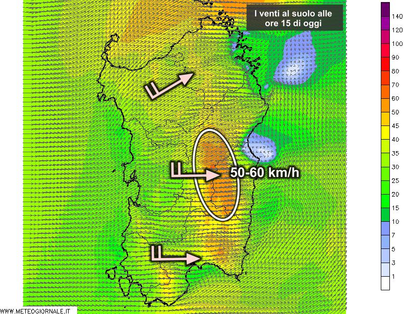Le raffiche di vento al suolo alle ore 15 di oggi, lunedì 14 settembre.