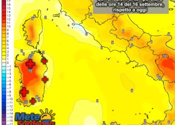 Le variazioni di temperatura delle ore 14 del 16 settembre, rispetto alla stessa ora di oggi.