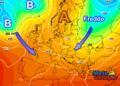 Multimodel GFS-ECMWF del 10 ottobre: si scorge la prima irruzione fredda verso l'Europa centro orientale.