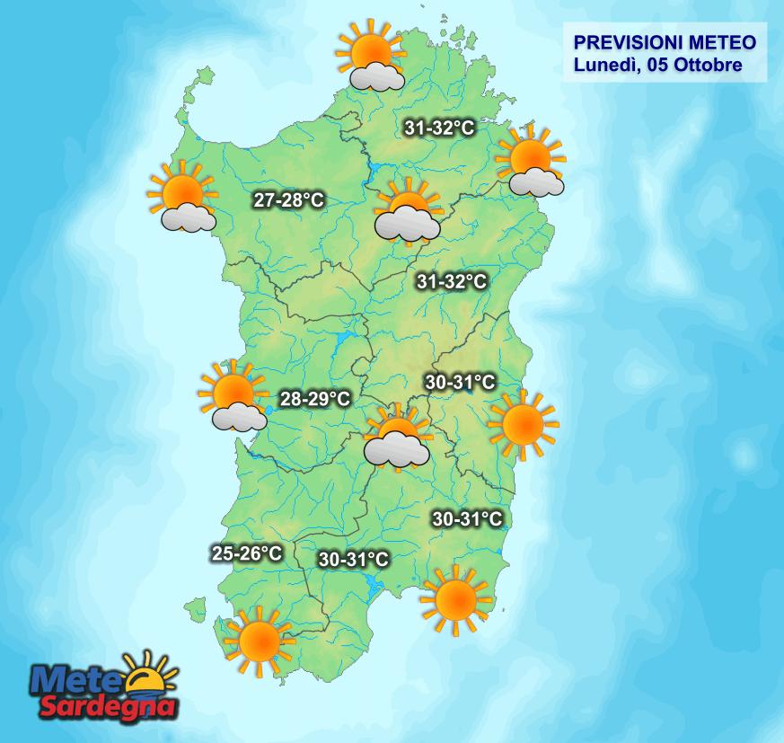 La previsione meteo per la giornata di oggi, lunedì 05 Ottobre.
