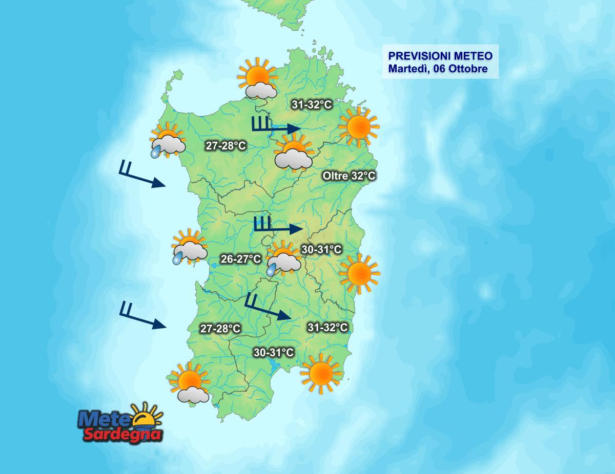 La previsione meteo per la giornata di oggi, martedì 06 Ottobre.
